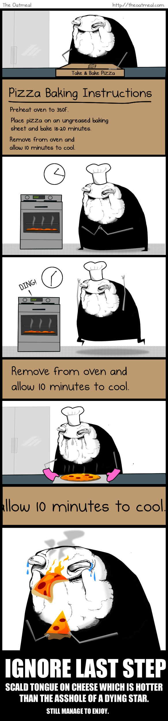 The final step of baking a pizza