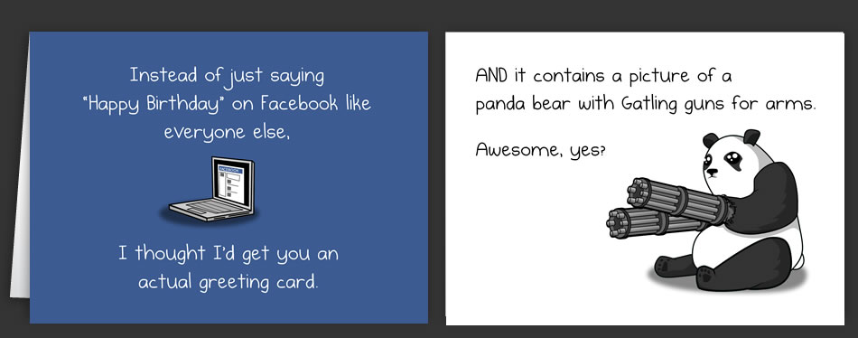 Horrible Cards Page 3 Greeting Cards by The Oatmeal – Facebook Birthday Cards