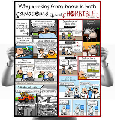 Why working from home is both horrible and awesome poster