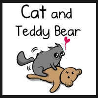 Cat and teddy bear