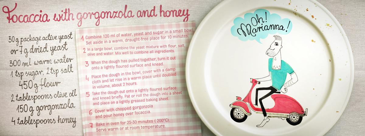 Focaccia gorgonzola honey