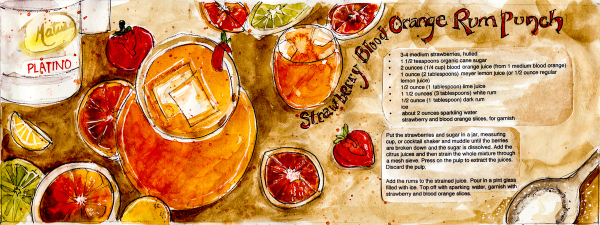 Strawberry Blood Orange Rum Punch by Christine McCloud