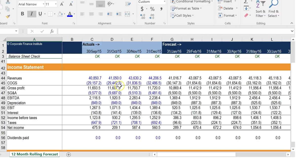 Excel Cashflow Template