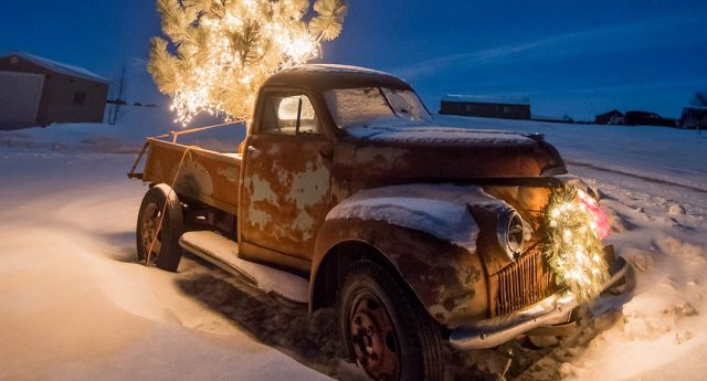 Old Truck with Christmas Lights