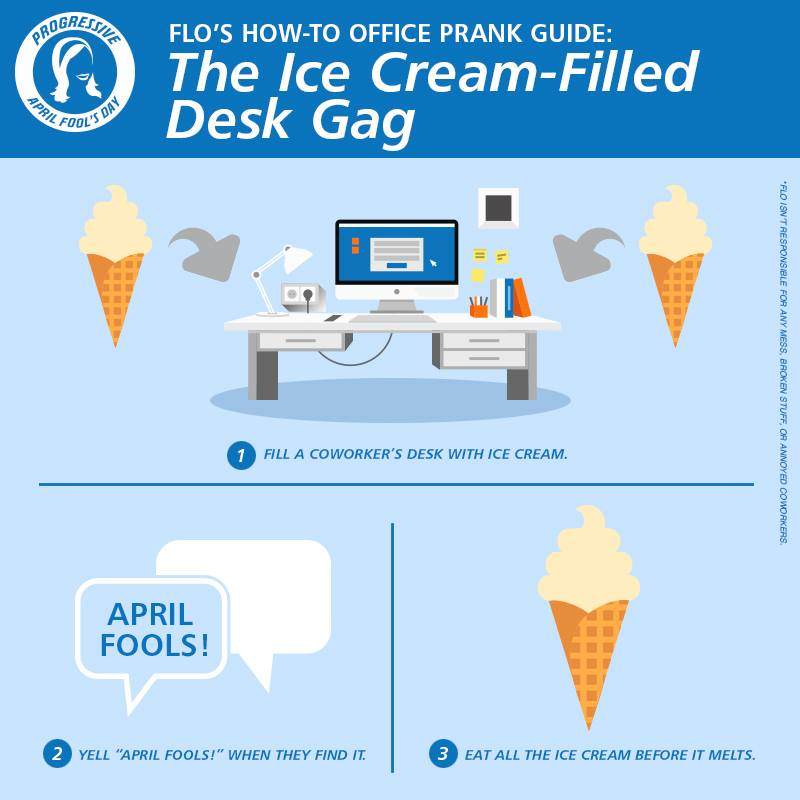 Ice cream filled desk gag