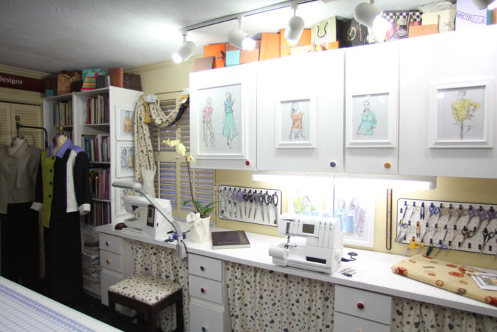 Ideas For Sewing Room Design Part - 43: Contributing Editor Louise Cuttingu0027s Studio Is Covered With Sewing-related  Decorations.