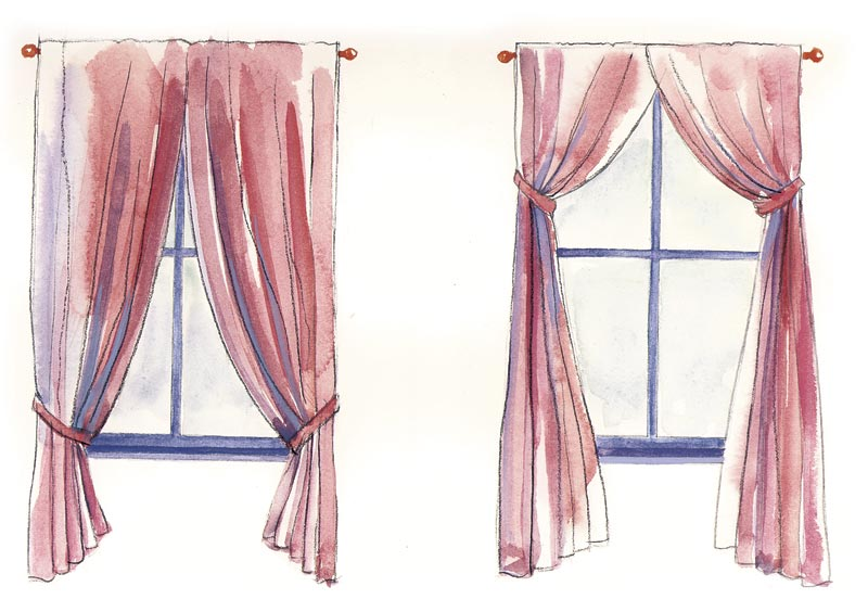 Window Treatments Images Part - 47: Placement Of Tiebacks Dramatically Affects The Visual Weight Of A Window;  It Can Produce An Effect That Is Either Formal Or Casual, And Make Windows  Appear ...