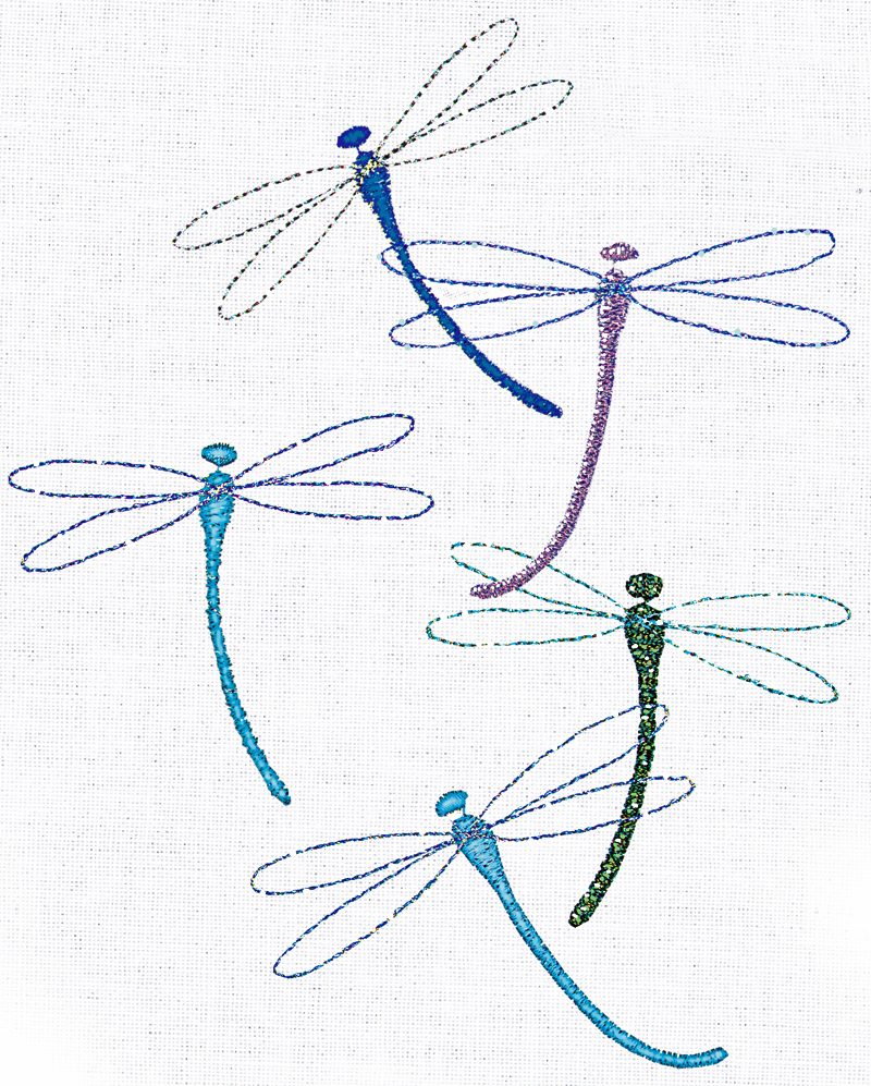 Choosing machine embroidery threads threads metallic thread gives these dragonflies their glitter nvjuhfo Image collections