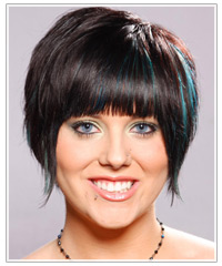 Model with black hair and blue highlights