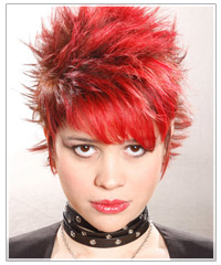 Model with short spiked red hair