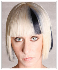 Model with platinum blonde and black hair