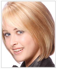 Woman with medium length blonde hair