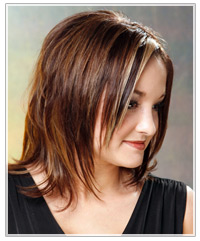 Side view of medium straight layered hairstyle