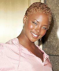Eva Pigford's Funky Blonde Pixie Hair