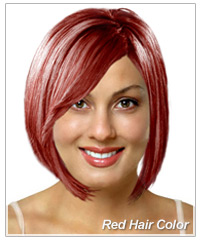 Red hair color on a virtual hairstyle