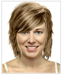 Straight mid-length hairstyle