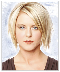 Funky blonde medium length hairstyle