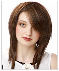 Medium to long layers in medium length hair