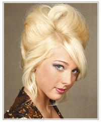 Blonde beehive upstyle