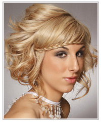 Model with plait through bangs