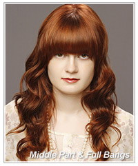 Model with middle part and full bangs