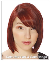 Model with side hair part and side swept bangs