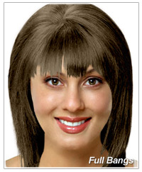 Model with full bangs