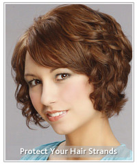 Model with short wavy brown hair