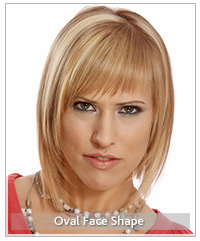 Model with blonde layered hair and bangs