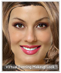 Model with virtual evening makeup