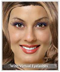 Model with virtual eyelashes