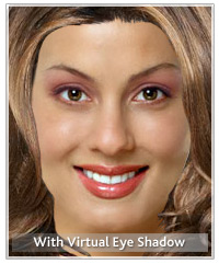 Model with virtual eye shadow