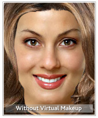 Model without virtual makeup