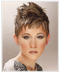 Model with short spikey hair