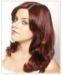Model with mid-length red highlighted hair