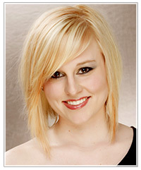 Model with mid-length blonde bob