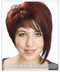 Model with short straight red hair