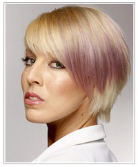 Model with subtle purple two-tone hair