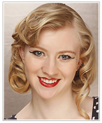 Model with mid-length retro curly hair