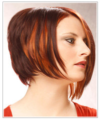 Model with copper red highlights