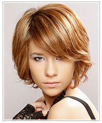 Model with light copper hair