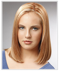 Model with mid-length straight hair