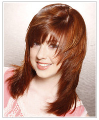 Model with shaggy red hair