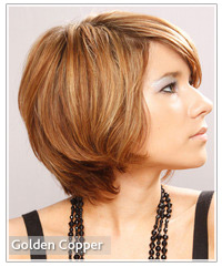 Model with a golden copper hair color