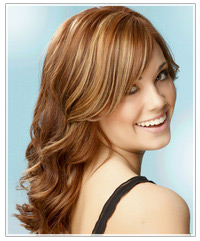 Model with long wavy hair