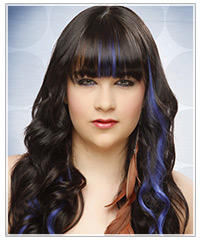 Model with long wavy black hair and blue highlights