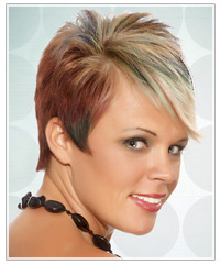 Model with short, multi-tone hair