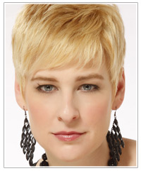 Model with short blonde hair