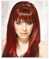 Model with long red highlighted hair