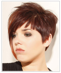 Model with short brown hair